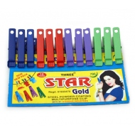 3x set á 12 pcs. clothes pegs coloured