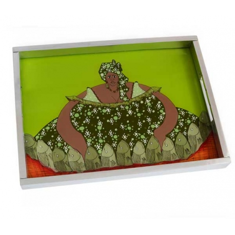 tray with reverse glass painting