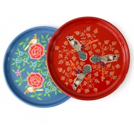 tray round painted, S